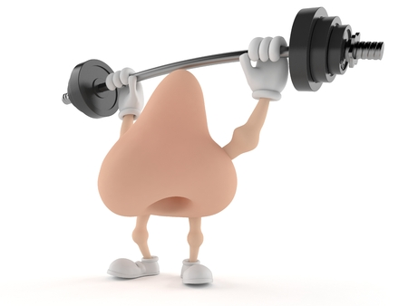 Nose character lifting heavy barbell isolated on white background. 3d illustration Stock Photo