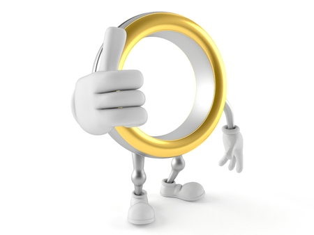 Wedding ring character with thumbs up isolated on white background. 3d illustration Banco de Imagens