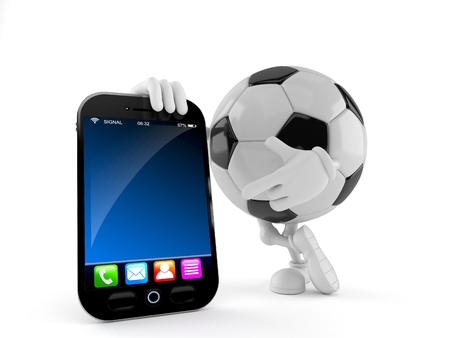 Soccer ball character with smart phone isolated on white background. 3d illustration Imagens