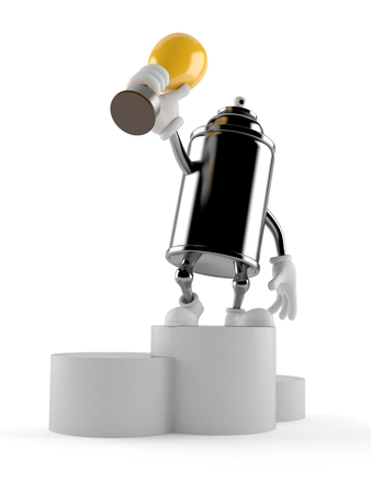 Spray can character on podium holding trophy isolated on white background. 3d illustration
