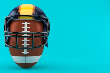 Football helmet with rugby ball isolated on blue background. 3d illustration