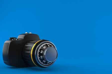 Camera with combination lock isolated on blue background. 3d illustration