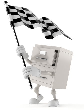 Archives character waving race flag isolated on white background. 3d illustration