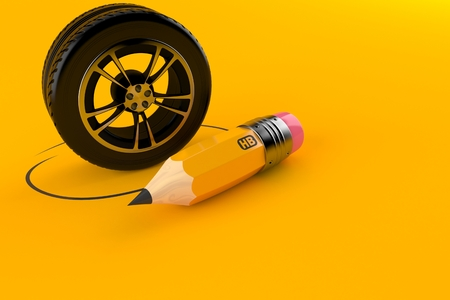 Car tire with pencil isolated on orange background. 3d illustration 写真素材