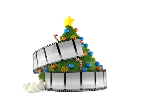 Christmas tree with film strip isolated on white background. 3d illustration