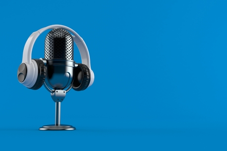 Radio microphone with headphones isolated on blue background. 3d illustration