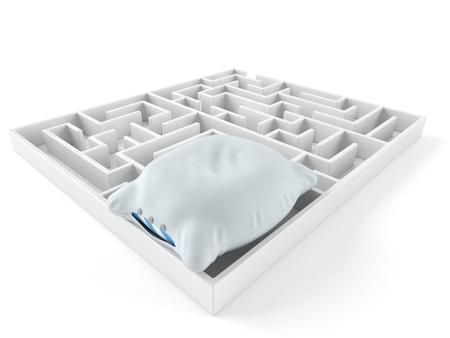 Pillow inside maze isolated on white background. 3d illustration