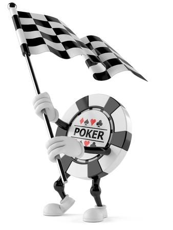 Gambling chip character waving race flag isolated on white background. 3d illustration Stock Photo
