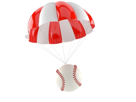 Baseball ball with parachute isolated on white background. 3d illustration