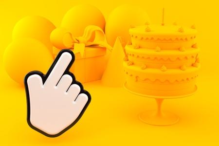 Celebration background with cursor in orange color. 3d illustration