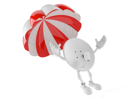 Satellite dish character with parachute isolated on white background. 3d illustration