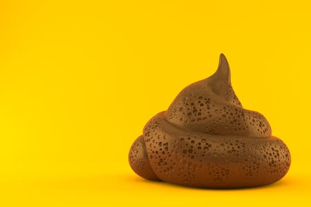 Dung poo isolated on orange background. 3d illustration Stock fotó