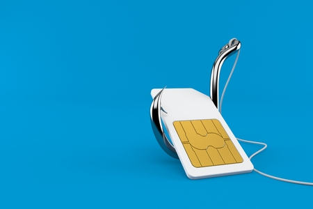SIM card with fishing hook isolated on blue background. 3d illustration