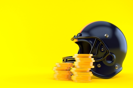 Football helmet with coins isolated on orange background. 3d illustration