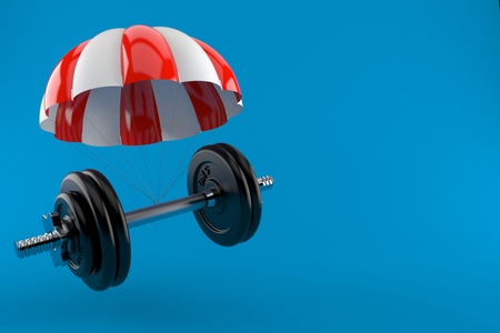 Dumbbell with parachute isolated on blue background. 3d illustration