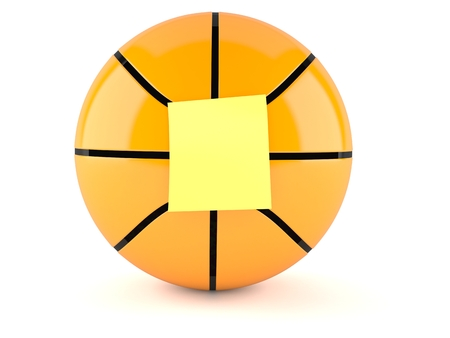 Basketball ball with blank yellow sticker isolated on white background. 3d illustration