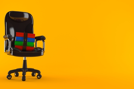 Books on business chair isolated on orange background. 3d illustration