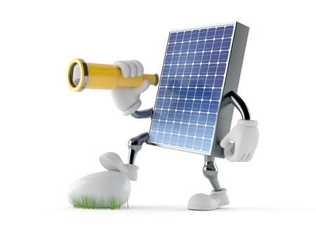 Photovoltaic panel character looking through a telescope isolated on white background. 3d illustration Stock fotó