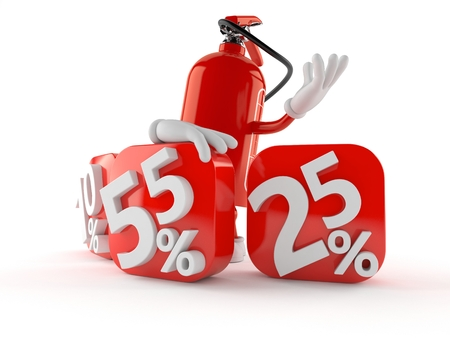 Fire extinguisher character with percent symbols isolated on white background. 3d illustration