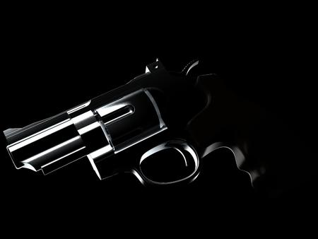 Gun on black background. 3d illustration