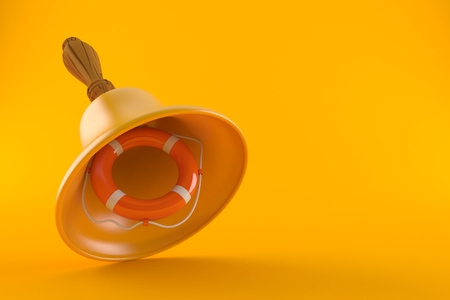 Handbell with life buoy isolated on orange background. 3d illustration Stock Photo