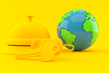 Hospitality background with world globe in orange color. 3d illustration