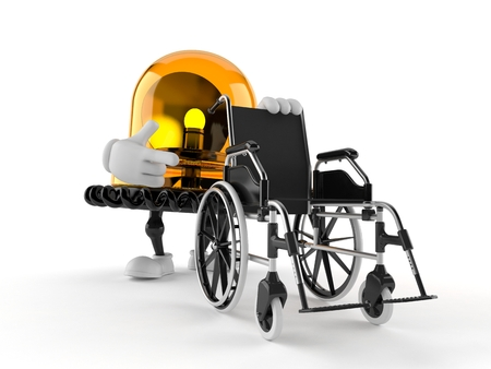 Emergency siren character with wheelchair isolated on white background. 3d illustration