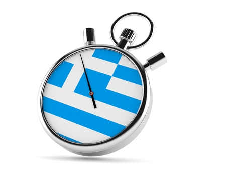 Stopwatch with greek flag isolated on white background. 3d illustration Foto de archivo