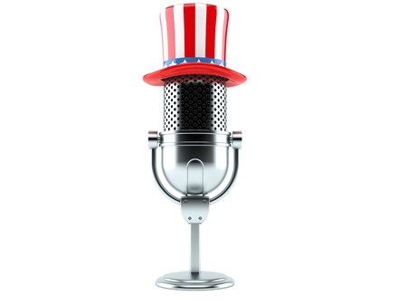 Radio microphone with usa hat isolated on white background. 3d illustration