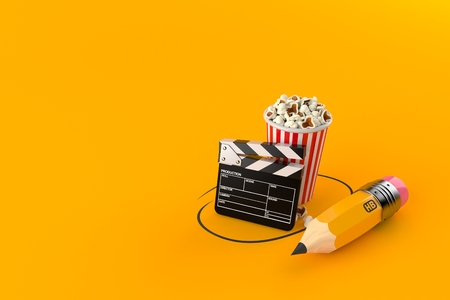 Popcorn and clapboard with pencil isolated on orange background. 3d illustration