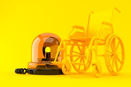 Wheelchair background with emergency siren in orange color. 3d illustration