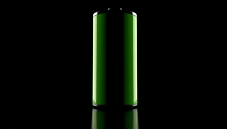 Green battery on black background. 3d illustration Reklamní fotografie