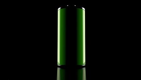 Green battery on black background. 3d illustration Stock Photo