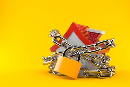 House with chain and padlock isolated on orange background. 3d illustration