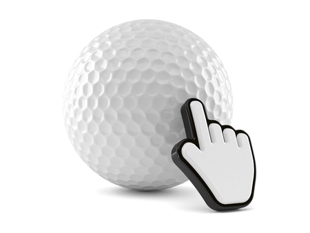 Golf ball with web cursor isolated on white background. 3d illustration Stock Photo