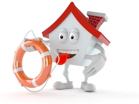 House character holding life buoy isolated on white background. 3d illustration
