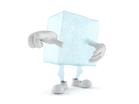 Ice cube character pointing finger isolated on white background. 3d illustration Stock Photo