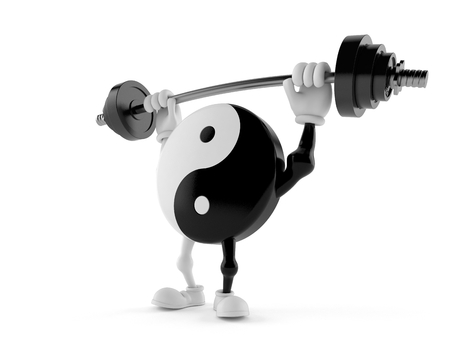 Jing Jang character lifting heavy barbell isolated on white background. 3d illustration