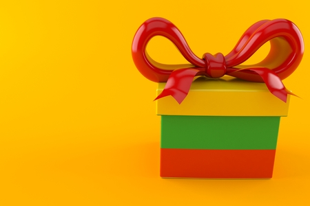 Gift with lithuanian flag isolated on orange background. 3d illustration Stock Photo