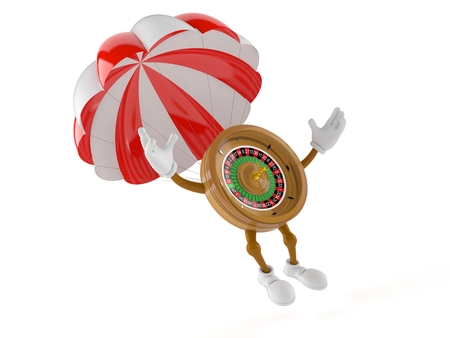 Roulette character with parachute isolated on white background. 3d illustration