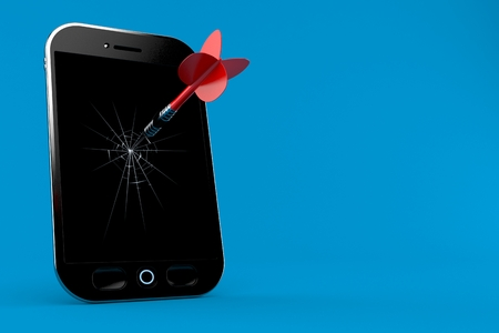 Broken smart phone with dart isolated on blue background. 3d illustration
