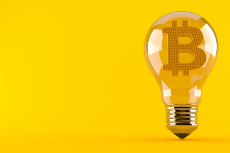 Bitcoin symbol inside light bulb isolated on orange background. 3d illustration Banco de Imagens