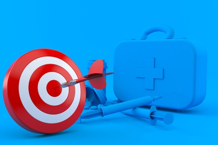 Healthcare background with bull's eye in blue color. 3d illustration