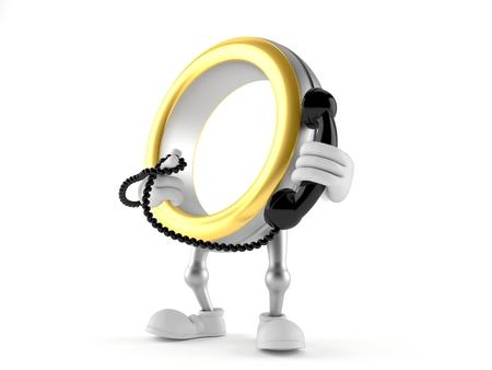 Wedding ring character holding a telephone handset isolated on white background. 3d illustration Banco de Imagens
