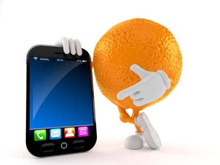 Orange character with smart phone isolated on white background. 3d illustration Imagens
