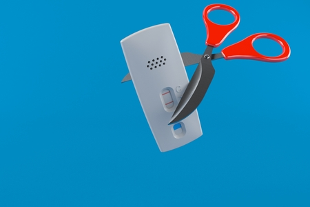 Pregnancy test with scissors isolated on blue background. 3d illustration