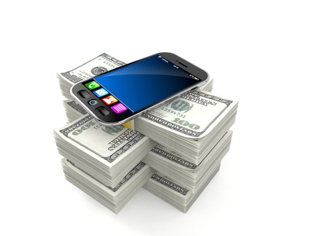 Smartphone on stack of money isolated on white background. 3d illustration