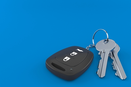 Car remote key with door keys isolated on blue background. 3d illustration Foto de archivo
