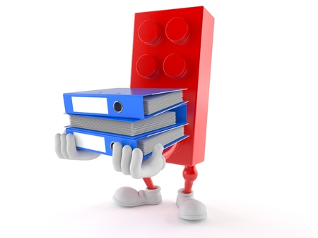 Toy block character carrying ring binders isolated on white background. 3d illustration Stock Photo