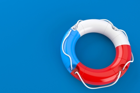 Life buoy with czech flag isolated on blue background. 3d illustration